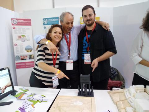 con Tea Pedone e Marco D'Alessandro ed il modello con le statue in fotogrammetria